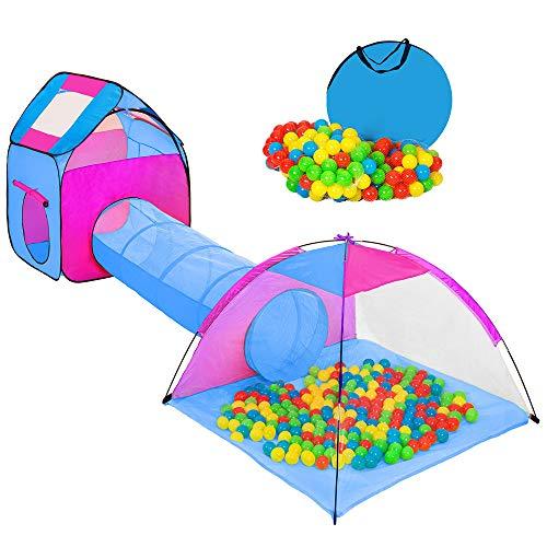 Hengda Spielzelt mit 200 Bälle Kinderspielzelt mit krabbeltunnel 3 Teiliges Bällebad Spielhaus mit Zelt Tasche und Tunnel für Zuhause