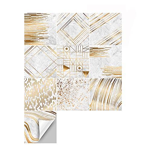 azulejos adhesivos cocina,10 piezas de pegatinas de baldosas de mármol antideslizantes e impermeables, pegatinas de baldosas lavables geométricas de baño -20cm