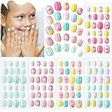 120 Uñas Postizas de Niñas a Presión Puntas de Uñas Artificiales Postizas Cortas de Cubierta Completa de Niños para Decoración Arte de Uñas, 5 Cajas (Verano Brillante)