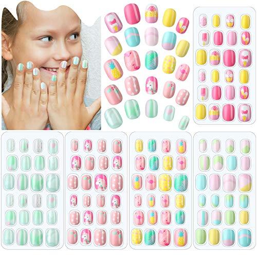 120 Stücke Mädchen Aufdrücken Nägel Gefälschte Nägel Künstliche Nagelspitzen Kinder Vollabdeckung Kurze Falsche Fingernägel für Mädchen Kinder Nagelkunst Dekoration (Heller Sommer)