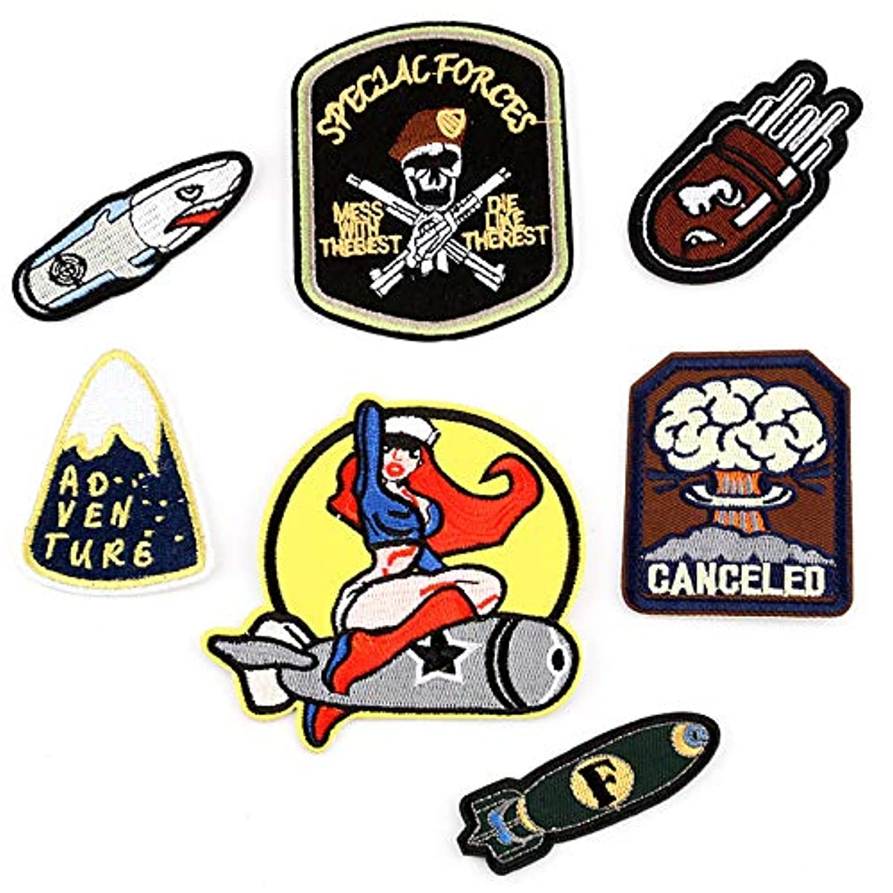 Iron On Patches 7 Pcs, Individuality Embroidered Patches with Iron, Embroidery Applique DIY Accessories Motif Applique Kit Sew On Patches for Jackets, Jeans, Clothing, Backpacks