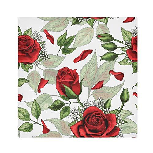TropicalLife HaJie Servilletas de papel de seda con diseño de flores y hojas florales rosas servilletas reutilizables de tela de poliéster satinado para mesa de niños, 50,8 x 50,8 cm, 4 piezas
