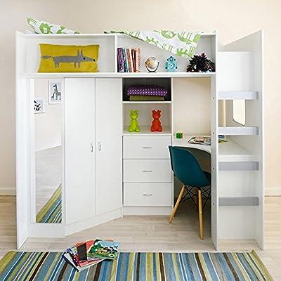 Mrsflatpack HIGH SLEEPER CABIN BED STAMFORD - M0860 (White)