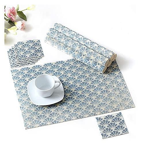 Placemats och Coaster Set med 6, Bamboo Placemats och Coaster [glidbar] Tvättbara bordmattor uppsättning av 6, blå Seupeak