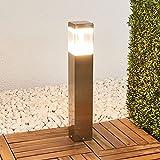 Lindby Edelstahl LED Sockelleuchte außen | Höhe: 50cm | Sockellampe Garten IP44 | inkl. 1x10W LED Leuchtmittel A+ fest verbaut | warmweiß (3.000K) | Wegeleuchte | Aussenleuchte