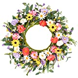 """Artificial Flower Wreath,20"""" Purple Yellow White Pink Floral Wreath Spring and Summer Wreath Front Door Wreath for Home Party Festival Wedding Decor"""