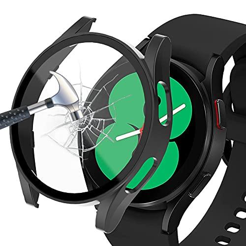 Jvchengxi Funda Compatible con Samsung Galaxy Watch 4 44mm Protector de Pantalla, PC Mate Duro Carcasa Protectora Antiarañazos Vidrio Templado Cubierta Estuche para Samsung Galaxy Watch 4 44mm (Negro)
