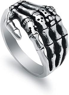 Kettles Edelstahl Punk Schädel Knochenring Retro Skeleton Pinky Handmade Halloween Armband Finger Metall Armband Band Silb...