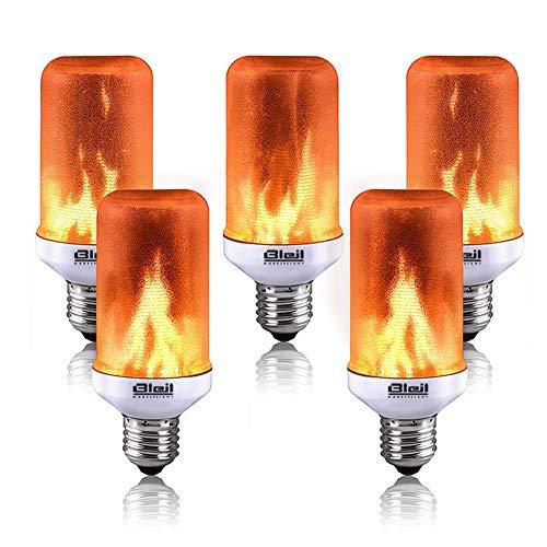 LED flammenimmitierende Effektleuchte, E27 Lampe Flackernde Licht Effekt Feuer Glühbirne Wandleuchte Außenleuchte Flackerlicht für Zuhause, Hotel, Eingangsbereich, Hofeinfahrten Party (5Stück)