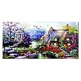 R-STYLE 美しい図案で完成後も見惚れる クロスステッチ 刺繍キット 刺繍工具付きセット (花園のおとぎの小屋 柄)