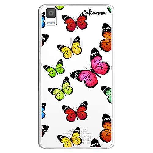 dakanna Funda para [ Bq Aquaris E5 4G - E5S ] de Silicona Flexible, Dibujo Diseño [ Estampado de Mariposas Multicolor ], Color [Fondo Transparente] Carcasa Case Cover de Gel TPU para Smartphone