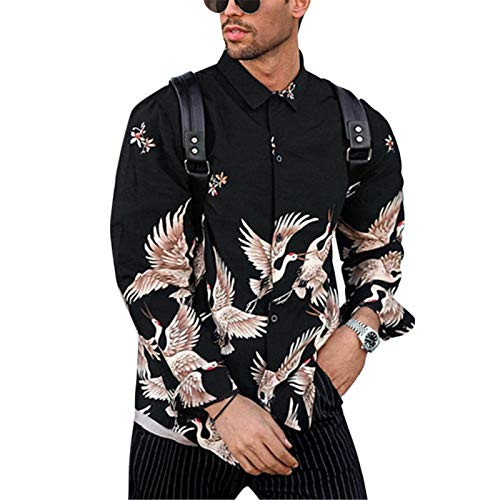 Camisa de Manga Larga con Personalidad para Hombre, Ropa de Calle con Estampado de Tendencia, Camisas de Cuello Vuelto Informales cómodas y relajadas