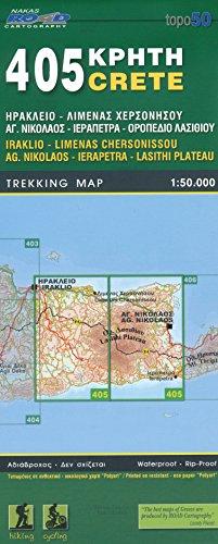 Iraklio, Limenas Chersonissou, Ag. Nikolaos, Ierapetra, Lasithi Plateau (Kreta), 1.50 K, Wanderkarte, GPS-kompatibel, 2014 Ausgabe, ORAMA, # 405