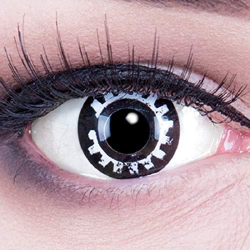 EIN PAAR Farbige Crazy Fun 14 mm 'Steampunk' Kontaktlinsen mit gratis Linsenbehälter und Kombilösung. Perfekt für Fasching!