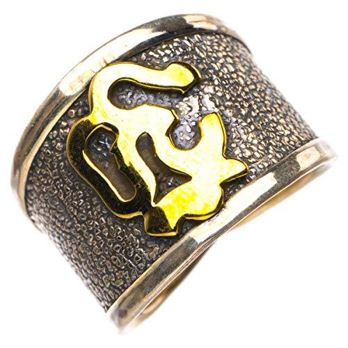StarGems Natural Tres tonos chapado en oro de 18 quilates Anillo de plata de ley 925 único hecho a mano 15 1/4 D4468