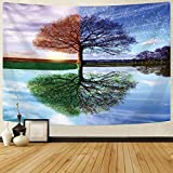 Delur Tree of Life Tapestry Colorful Forest Nature Landscape Tapestry Hippie Bohemian Tree Tapestry Psychedelic Wall Hanging Headboard Bedspread Tapestry for Bedroom Living Room Home Decor (70.8' x 92.5')