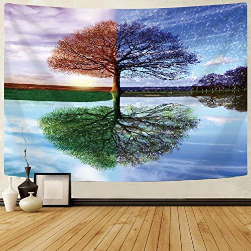 """Delur Tree of Life Tapestry Colorful Forest Nature Landscape Tapestry Hippie Bohemian Tree Tapestry Psychedelic Wall Hanging Headboard Bedspread Tapestry for Bedroom Living Room Decor (59.1"""" x 78.7"""")"""