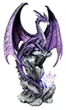 Ebros Large Hoarfrost Twilight Dragon Guarding LED Night Light Crystal Elements Statue 18' Tall by Ruth Thompson Dungeons and Dragons Medieval Renaissance Decor Figurine
