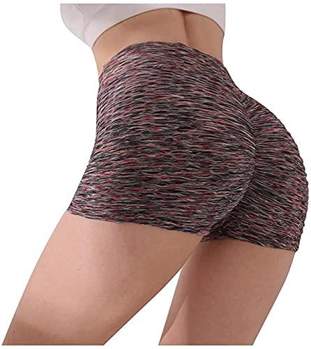Mujeres Yoga Shorts Fruncido Butt Sport Gym Push Up Running Elástico Cintura Alta Pantalones Cortos Butt Lifting Hot Pants, marrón, L