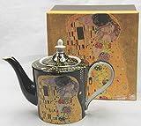 Atelier Harmony Klimt Teekanne Kaffeekanne Der Kuss schwarz 1 Liter mit Geschenkbox