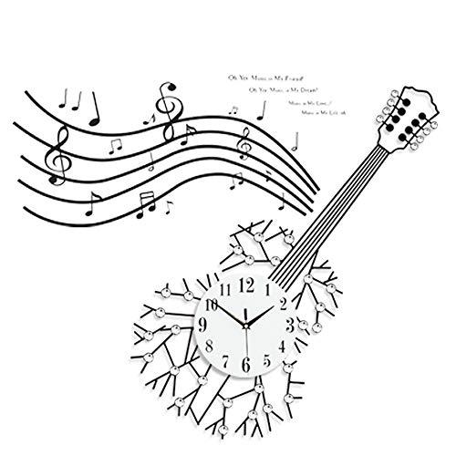 Stella Fella Moderno Y Creativo Estilo De Guitarra Estilo Reloj De Pared De Hierro Forjado Sala De Estar Decoración De La Pared Mesa De Reloj Personalidad De Moda Reloj De Cuarzo Mudo