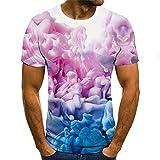 Camiseta Hombre Cuello Redondo Manga Corta Estampado Personalidad 3D Camisa Deportiva Hombre Moda Casual Estilo Urbano Camisa Hombre Verano Ajustado Tops Hombre