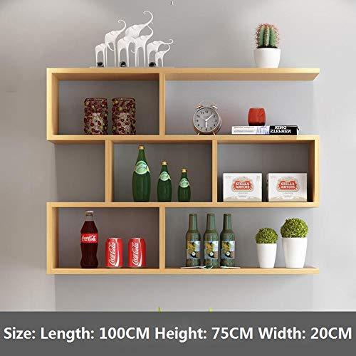 Regale,Moderne Gitter Kreatives Kollektion Aufbewahrungsbox ,Schweberegal,Holzregal ,Hängeregal,Wandboard,Wandschränke-Primärfarbe 100 * 20 Cm