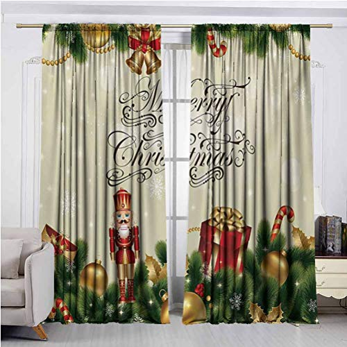 Christmas Blackout Curtains for Living Room Noel Season Ornaments with Birch Branch Cute Ribbons Bells Candy Canes Art Image Wide Blackout Curtains, Keep Warm Draperies W54 x L84 Inch x2