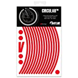 VFLUO Circular™, Kit de Cintas, Rayas Retro Reflectantes para Llantas de Moto (1 Rueda), 3M Technology™, Anchura Normal : 7mm, Rojo