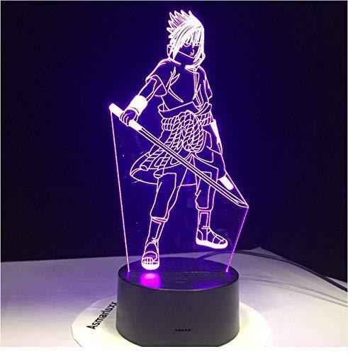 Sasuke Naruto 3D Nachtlicht Modellierung Leuchten 7 Farbwechsel Led Kids Bedside Visuelle Anime Usb Schreibtischlampe Wohnkultur