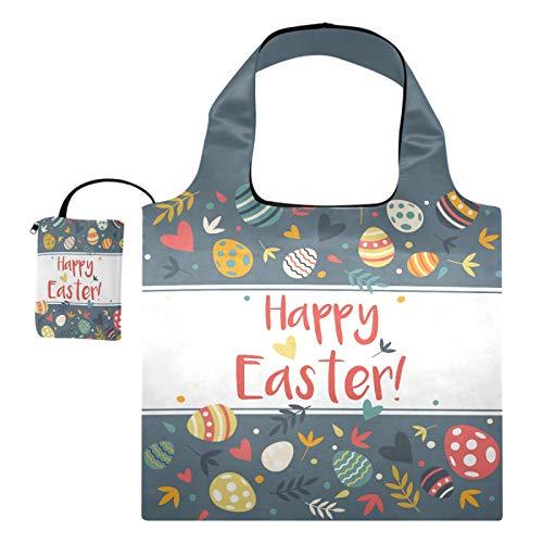 Bolsas de compras reutilizables – Happy Easter plegable grandes bolsas de tela reutilizables con bolsa