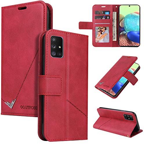 LODROC Galaxy M31 / M21 Hülle, TPU Lederhülle Magnetische Schutzhülle [Kartenfach] [Standfunktion], Stoßfeste Tasche Kompatibel für Samsung Galaxy M31 / M21 - LOYKB0600209 Rot