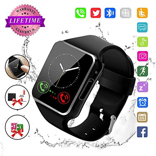 Smart Watch,Bluetooth Smart Watch for Andriod Phones, Smartwatch with Camera,Waterpfoof Smart Watches,Watch Phone Touchscreen for Android Samsung iOS Plus Men Women Youth (Black) (X6)