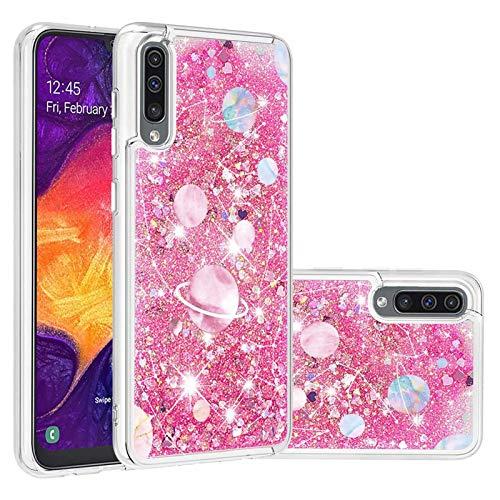 Miagon Flüssig Hülle für Samsung Galaxy A50,Glitzer Treibsand Handyhülle Glitter Quicksand Schutzhülle Bumper Case Cover,Galaxis