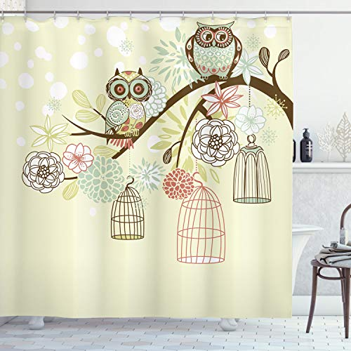 Flowers Owls Shower Curtain