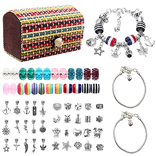 Kit para Hacer Pulseras Niñas, 68pcs Kit Joyería con Cuentas para Pulseras, Manualidades, Regalo para para Año Nuevo Cumpleaños Navidad, para Niñas 4-16 Años