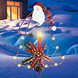 MorTime Christmas Garden Stake Decor, Lighted Solar Metal Santa Claus Yard Stakes with LED Lights for Home Outdoor Yard Lawn Pathway Walkway Driveway Christmas Holiday Winter Decoration