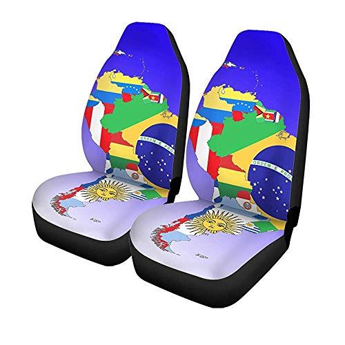 Beth-D set met 2 auto's voor Seat Covers Map symboliek Amerika Zuid Midden-vlaggen voorstoelen universele protector 14-17 inch