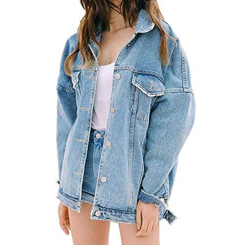 Unbekannt Damen Mädchen Denim Jacke Jeansjacke BF Lose Jeans Mantel Frühling Herbst … (M)