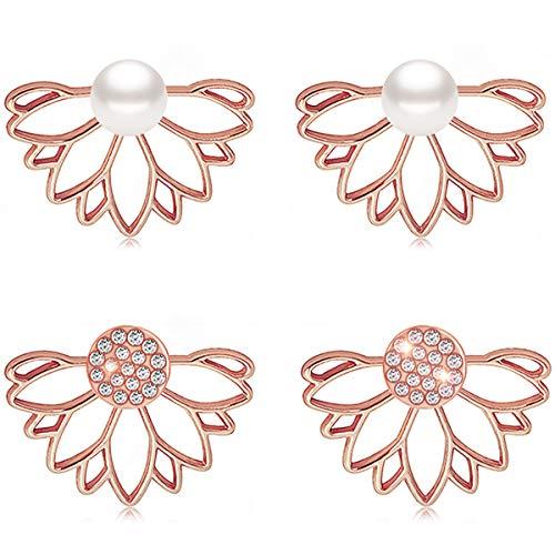 Suyi Mode Hohl Lotus Blume Ohrringe Kristall Einfach Schick Ohrringe Set RGR