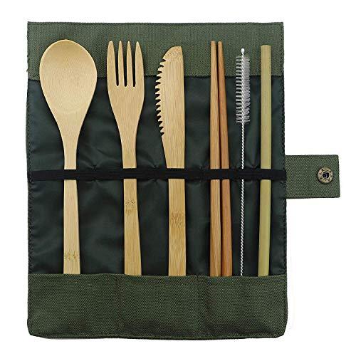 RoseLock Bambus Besteck Set für Camping & Reise | Nachhaltig, plastikfreies Besteck - Löffel, Gabel, Messer & Strohhalm aus Holz zerowaste Holzbesteck