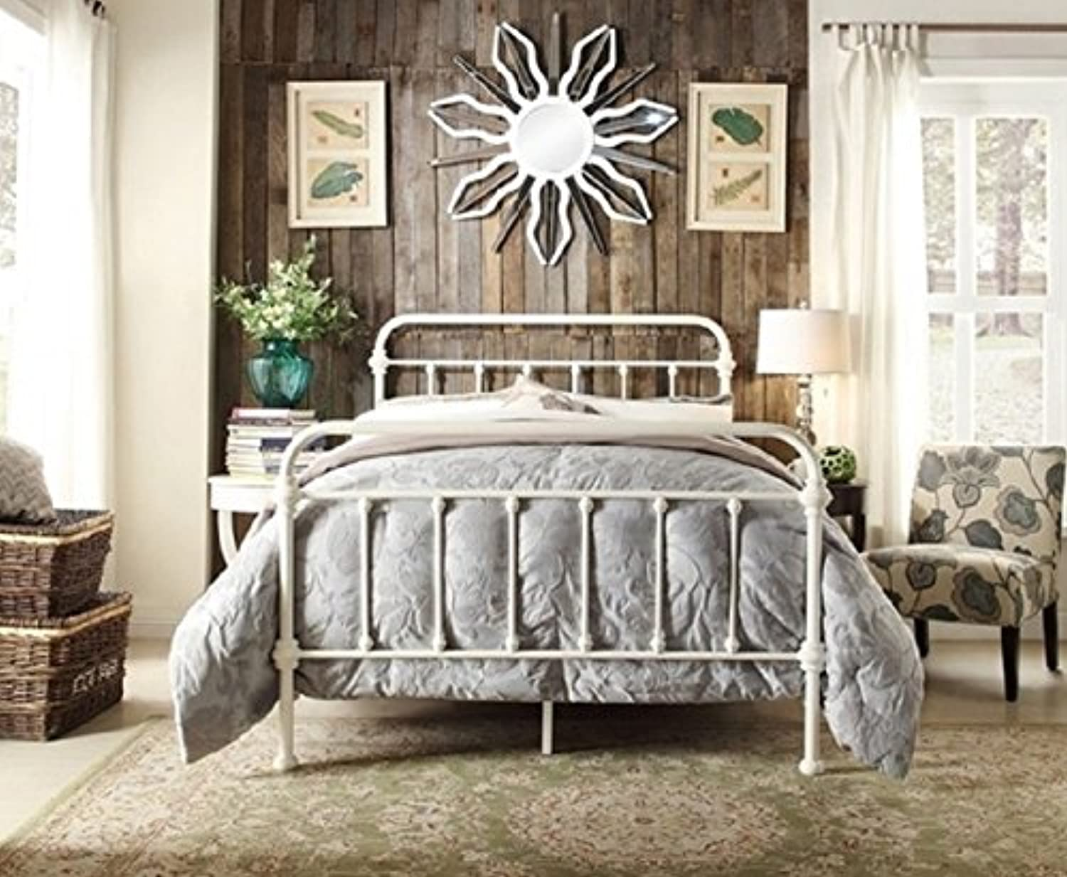 Istyle Monaco Queen Bed Frame Metal White