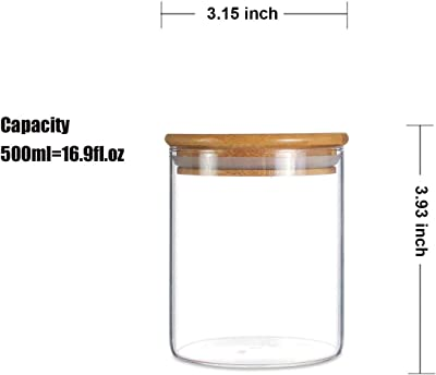 Ellenge Glass Storage Jar Airtight Food Storage Canisters Set of 3 Glass Coffee Jar Kitchen Food Storage Container with Bamboo Lid for Serving Tea, Coffee, Spice and More (450ML)