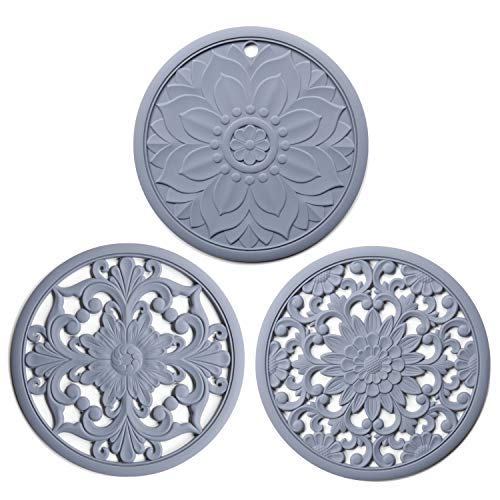 Set of 3 Silicone Trivet Mats, 3 Multi-Use Intricately Carved Hot Pot Trivets for Hot Dishes, Kitchen Mats, Table Mats, Flexible Durable Non Slip Hot Pads Coasters (Grey)