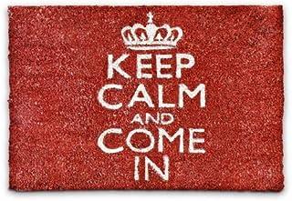 Relaxdays – Felpudo Keep Calm and Come In para la Entrada de su hogar Hecho de Fibras de Coco y PVC con Medidas 40 x 60 cm...