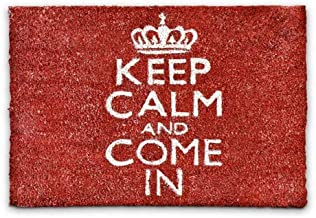 """Relaxdays Coconut Fibre """"Keep Calm and Come in"""" Doormat 40 x 60 cm Coir Welcome Mat with No-Slip Rubber PVC Underside, Red"""
