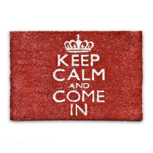 Relaxdays – Felpudo Keep Calm and Come In para la Entrada de su hogar Hecho de Fibras de Coco y PVC con Medidas 40 x 60 cm Antideslizante Elemento Decorativo, Color Rojo