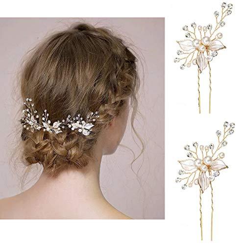 Damen Haarspangen Haarnadeln Haarklammern Vintage Hochzeit Kopfschmuck mit Kristallen Braut Haarschmuck für Frauen auf Hochzeit Party Freizeit (Style 2)
