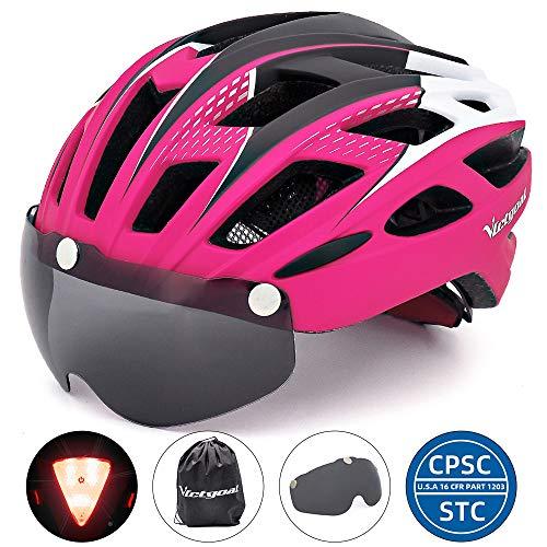 VICTGOAL Fahrradhelm Herren Damen Erwachsene Fahrrad Zyklus Helm Magnetischer Visier-Schutzbrille mit LED-Rücklicht 57-61 cm (Rosy)