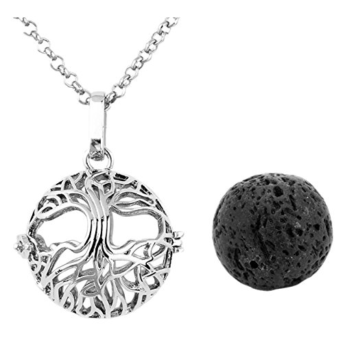 JOVIVI Lava Stone Aromatherapy Essential Oil Diffuser Tree Of Life Locket Pendant Necklace 28' With Gift Box